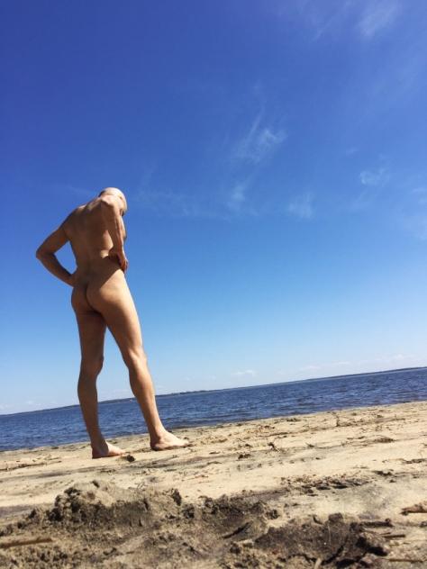 Jade Sambrook naked on the beach at Oka clothing optional textile free nude beach